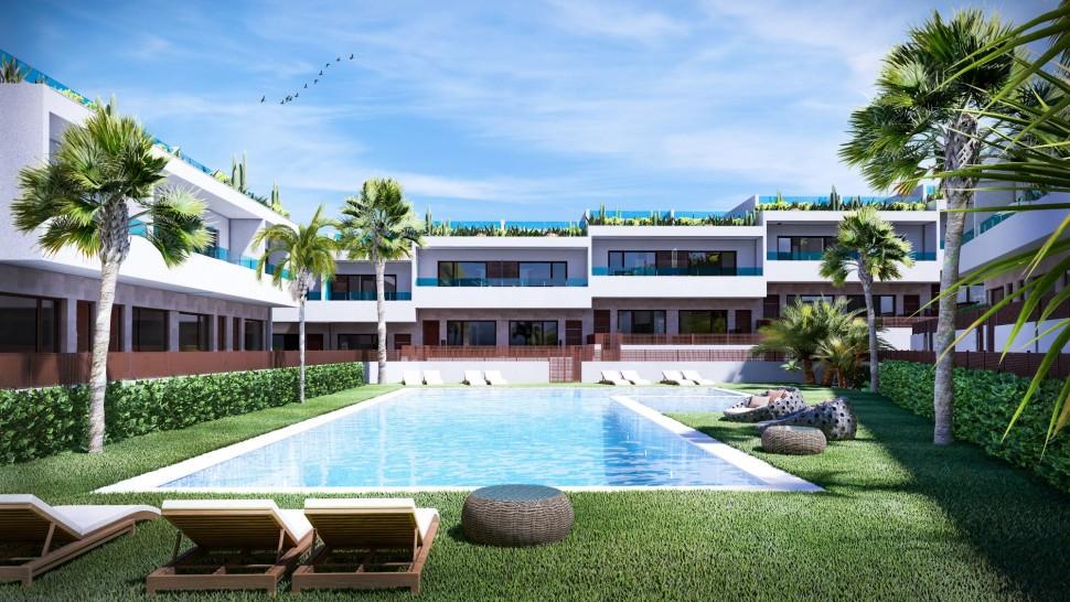 Новые дома с видом на море и лагуну в Лос Балконес, Торревьеха