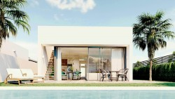 Новые виллы 122 кв.м. с частным бассейном и садом в Ла Манге