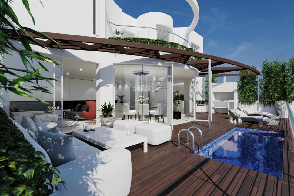 Трехэтажные виллы в  жилом комплексе в Сьерра-де-Альтеа