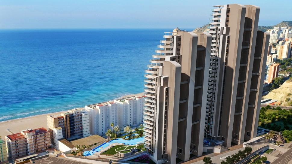Новые квартиры 109 кв.метров на берегу моря в Бенидорме